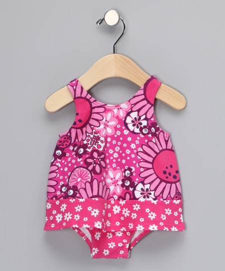 Hot Pink Bloom Skirted One-Piece - Infant