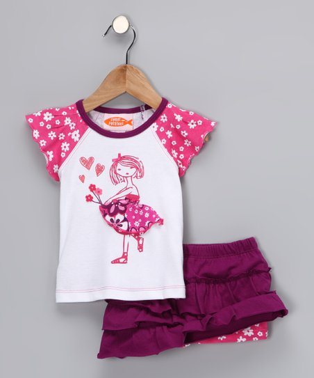 Hot Pink Flower Girl Raglan Tee & Skirt - Infant & Toddler