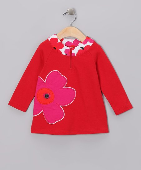 Ruby Red Flower Yoke Dress - Infant, Toddler & Girls