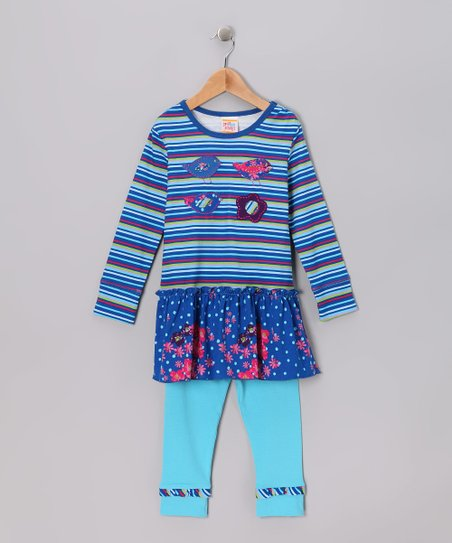 Blue La Paz Drop-Waist Tunic & Leggings - Toddler & Girls