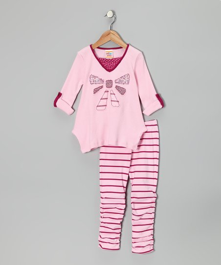 Light Pink Bow Tunic & Stripe Leggings - Infant, Toddler & Girls