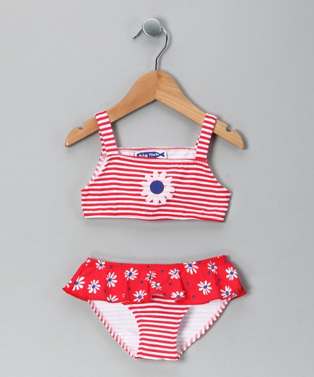 Red Daisy Ruffle Bikini - Infant, Toddler & Girls
