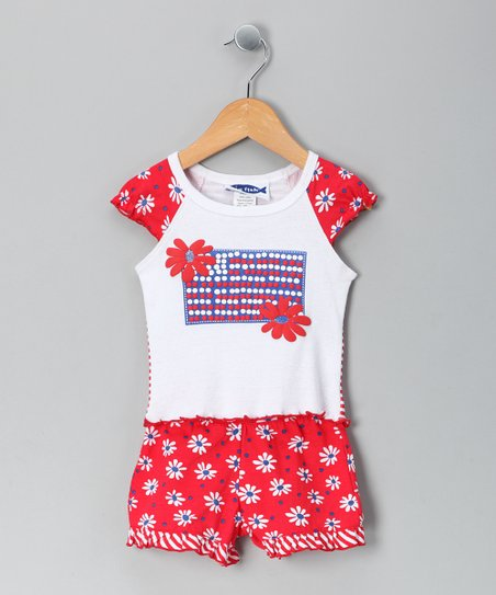 Red & White Flag Tee & Shorts - Toddler & Girls
