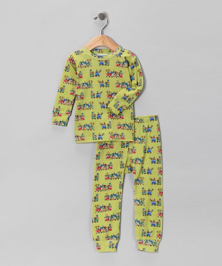 Green Holiday Train Pajama Set - Infant, Toddler & Kids