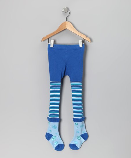 Blue Button Tights - Toddler