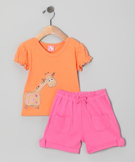 Orange & Pink Giraffe Tee & Shorts