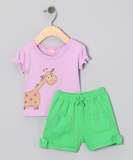 Lilac Giraffe Tee & Green Shorts - Infant