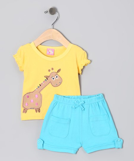 Yellow & Aqua Giraffe Tee & Shorts