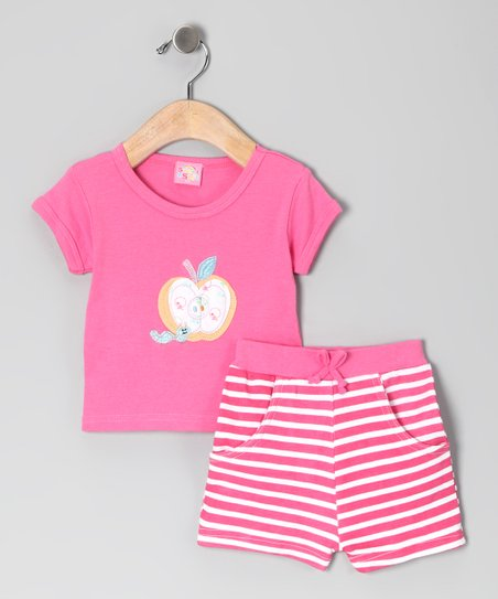 Pink Stripe Apple Tee & Shorts