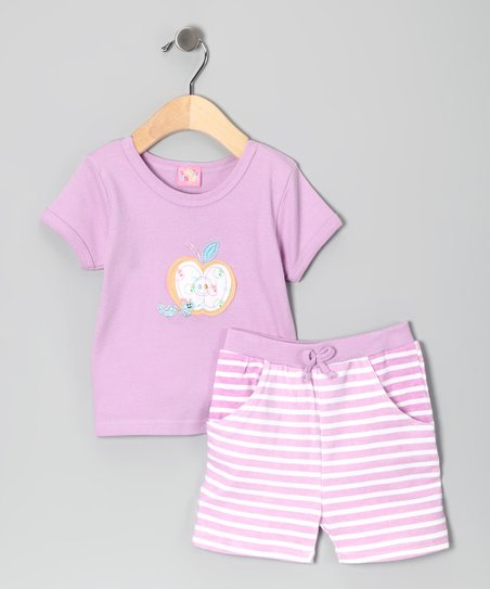 Lilac Stripe Apple Tee & Shorts