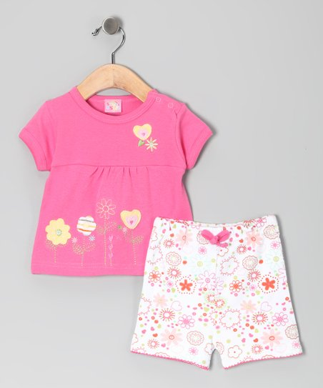 Pink Flower Heart Top & Shorts