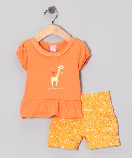 Orange 'High Maintenance' Top & Shorts