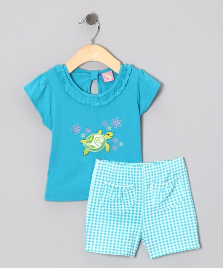 Blue Sea Turtle Tee & Shorts