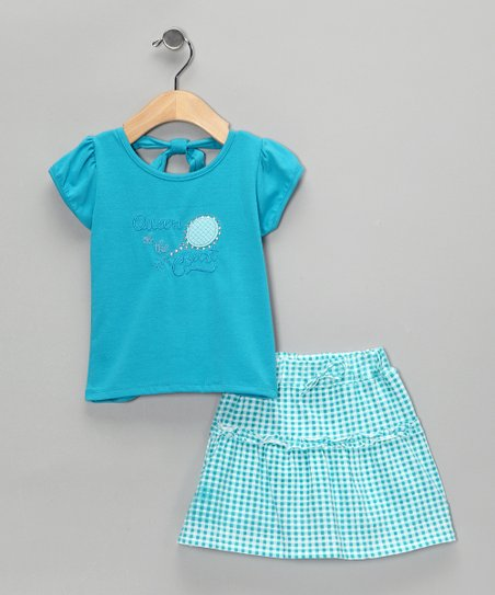 Blue &#039;Queen&#039; Gingham Top &amp; Skirt