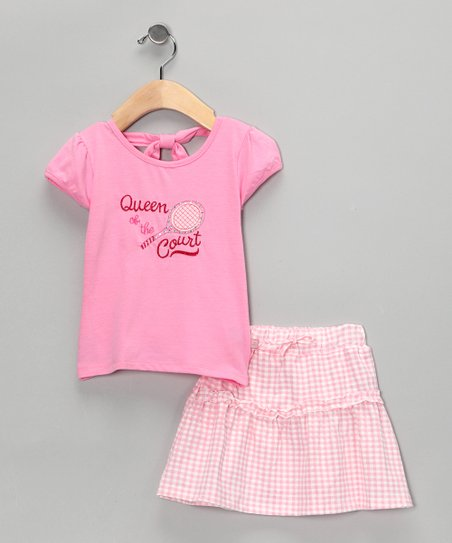 Pink &#039;Queen&#039; Gingham Top &amp; Skirt