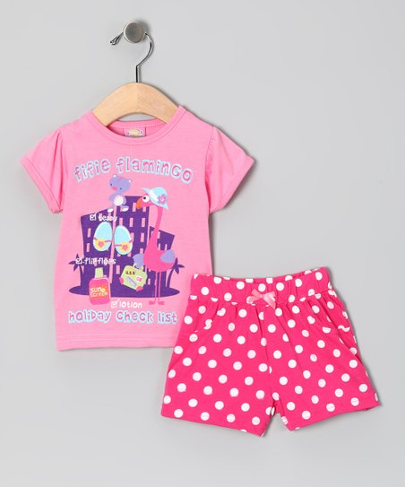 Pink 'Holiday' Flamingo Tee & Shorts