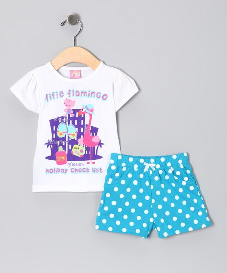 White Holiday Flamingo Tee &amp; Shorts