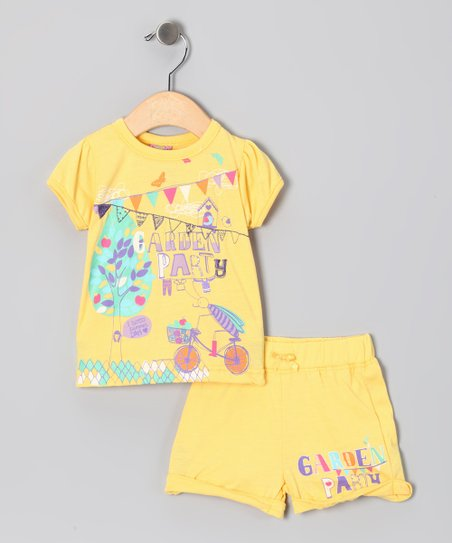 Yellow 'Garden Party' Tee & Shorts