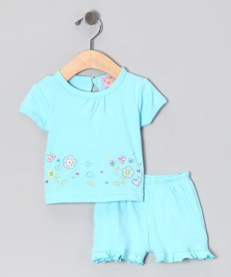 Blue Flower Garden Top & Ruffle Shorts