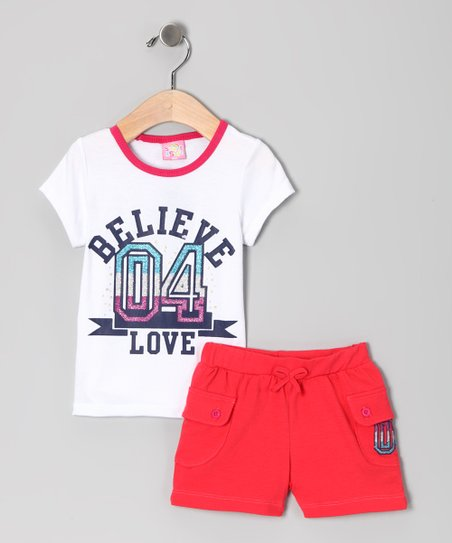 White 'Believe' Tee & Shorts