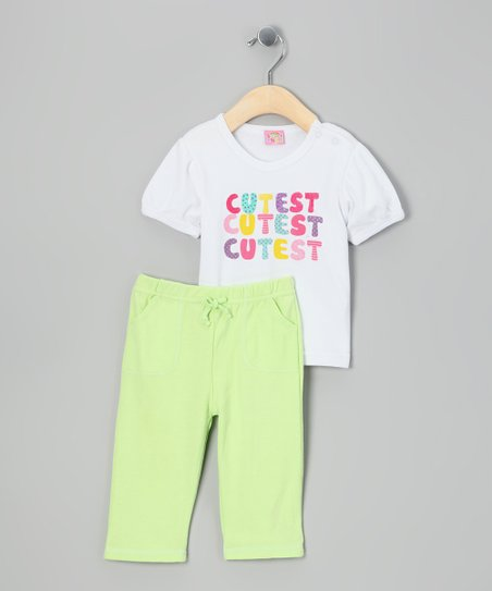 White & Lime 'Cutest' Tee & Pants - Infant
