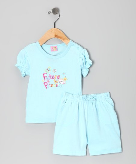 Light Blue &#039;Future Princess&#039; Tee &amp; Shorts