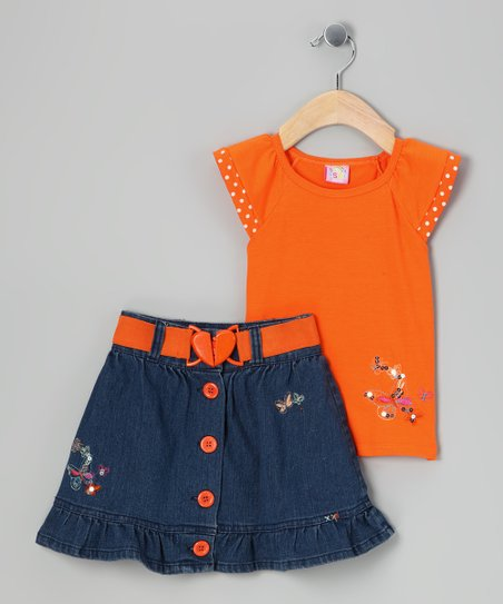 Orange & Navy Butterfly Top & Skirt