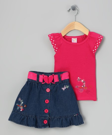 Pink & Navy Butterfly Top & Skirt