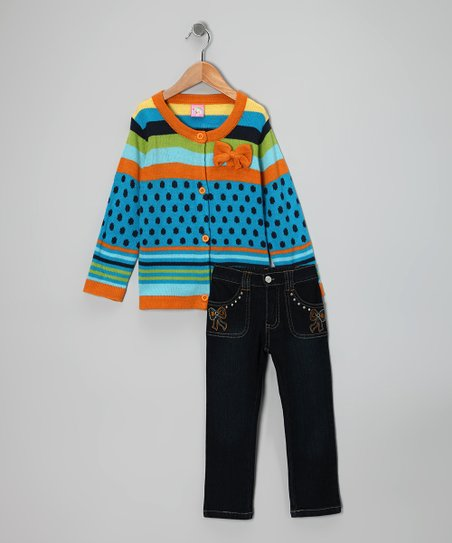 Orange Bow Cardigan & Jeans - Toddler