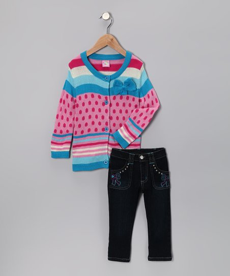 Turquoise Bow Cardigan & Jeans - Toddler