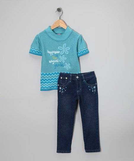 Light Blue 'Happiness' Sweater & Jeans - Infant & Toddler