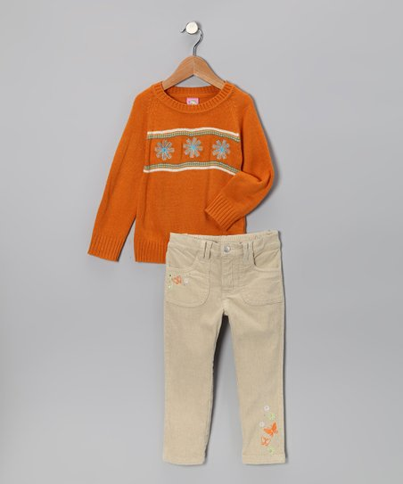 Orange Flower Trio Sweater & Pants - Toddler