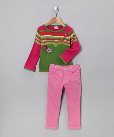 Lime Stripe Sweater & Pants - Infant