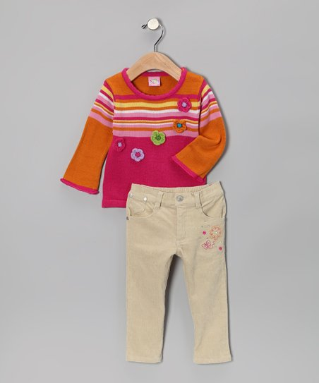 Fuchsia Stripe Sweater & Pants - Infant & Toddler
