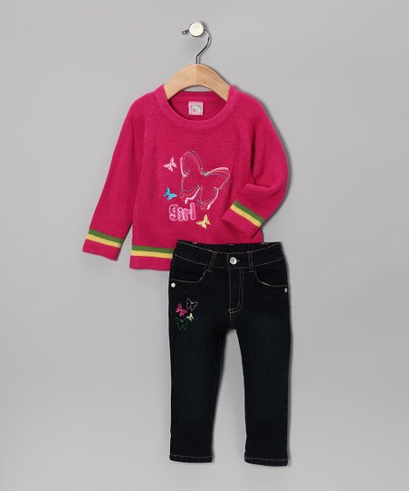 Fuchsia Butterfly 'Girl' Sweater & Jeans - Infant