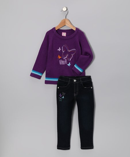 Purple Butterfly 'Girl' Sweater & Jeans - Toddler