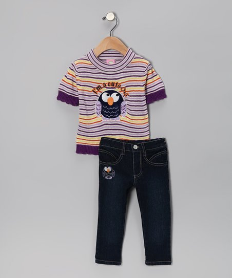 Purple 'Cute Owl' Sweater & Jeans - Toddler