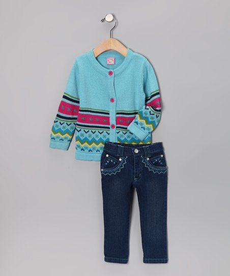 Light Blue Flower Stripe Cardigan & Jeans - Toddler