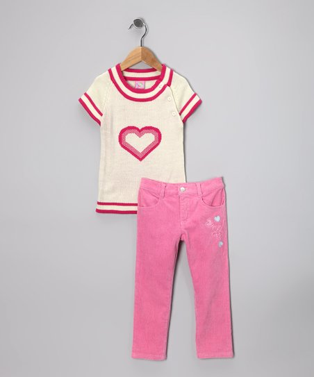 Fuchsia Heart Sweater & Pants - Toddler