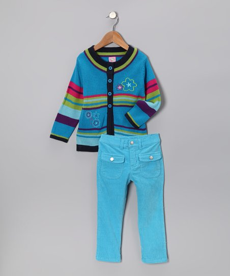 Turquoise Flower Cardigan & Pants - Infant