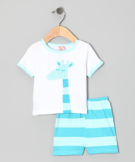 Blue Stripe Giraffe Tee & Shorts