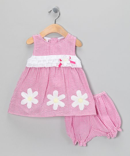 Pink Daisy Seersucker Dress &amp; Bloomers - Infant