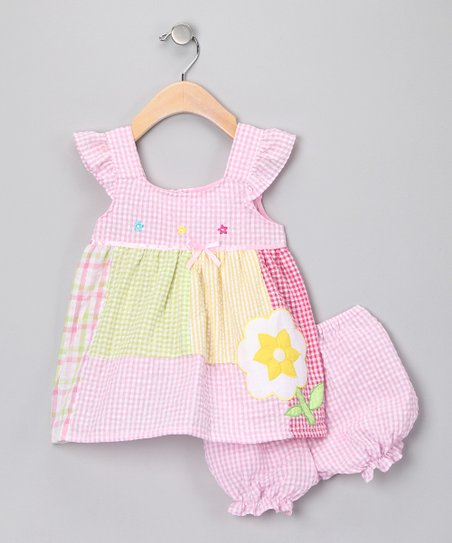 Pink &amp; Green Gingham Patchwork Dress &amp; Bloomers - Infant