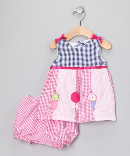 Pink Gingham Ice Cream Dress & Bloomers - Infant