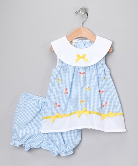 Blue Gingham Bow Dress &amp; Bloomers - Infant