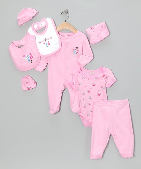 Light Pink 'Love Bug' Eight-Piece Layette Set