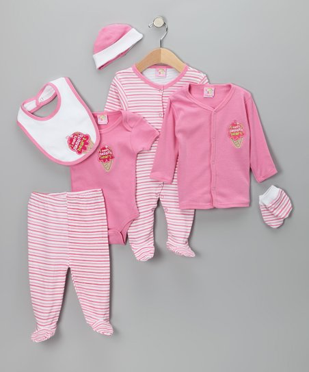 Pink 'I Melt Daddy's Heart' Seven-Piece Layette Set