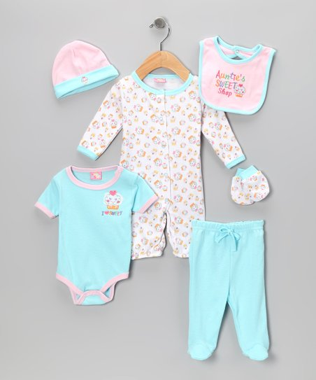 Blue & Pink 'Auntie's Sweet Shop' Six-Piece Layette Set - Infant