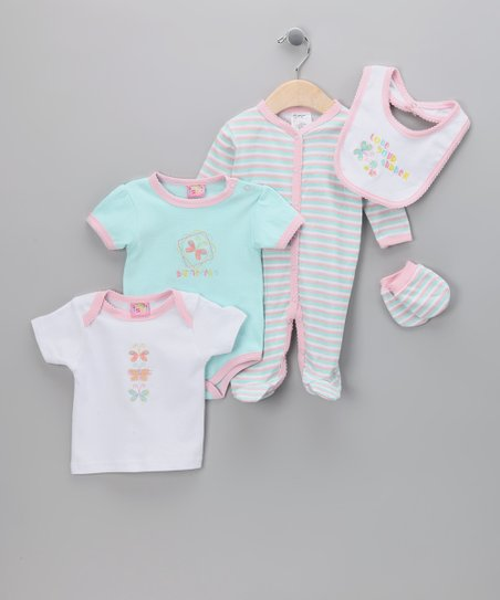 Pink & Blue 'Love Your Garden' 5-Piece Layette Set