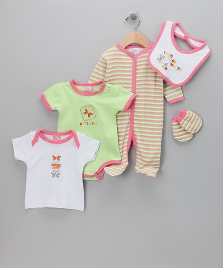 Pink 'Love Your Garden' Five-Piece Layette Set - Infant